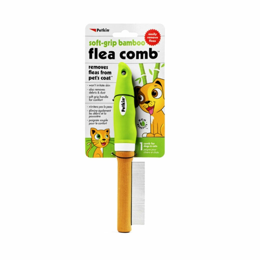 PETKIN SOFT GRIP BAMBOO FLEA COMB FOR CATS & DOGS REMOVES FL