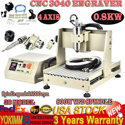 Usb 4 Axis 3040 Cnc Router Engraver Engraving Milling 3d Carving Machine 800w