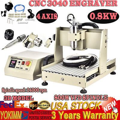 3040t Usb Cnc Router 4 Axis Engraver Engraving Cutter Desktop Ball-screw 800w