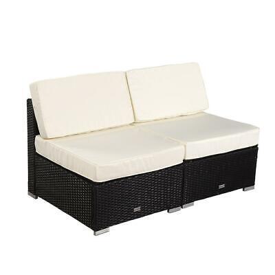 Garden Furniture - 2PC Garden PE Rattan Middle Sofa Loveseat Cushion Couch Outdoor Patio Furniture