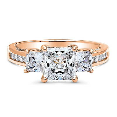 BERRICLE Rose Gold Plated CZ 3-Stone Anniversary Promise Engagement Ring
