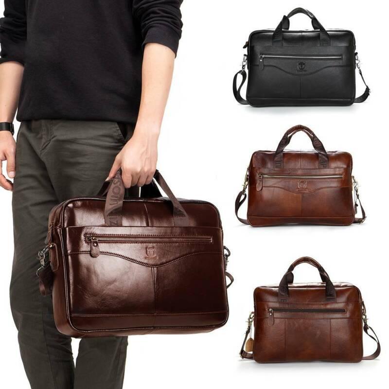 Herren Aktentasche aus Leder Business Handtasche Kuriertasche Laptop Tasche