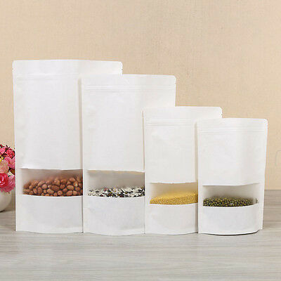 White Kraft Paper Stand Up Seal Bags Resealable Food Pouch With Matte Window