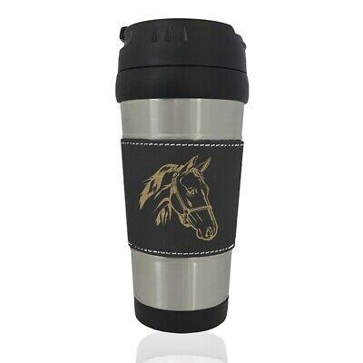 Faux Leather Travel Mug, Horse Head 2 - Horse Travel Mugs