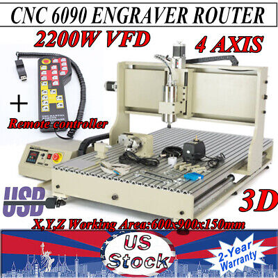 2200w 4axis Cnc 6090 Router Engraving Drilling Mill Machine 3d Cutter Handwheel
