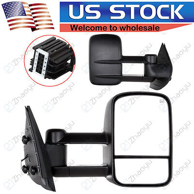 Heated Truck Mirrors (Power Heated Towing Mirrors Pair Set For 2007-2014 Chevy GMC Truck Side Mirrors )