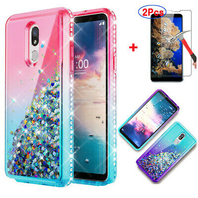 For LG Stylo 5/4 Plus Hybrid Shockproof Rubber TPU Case + Glass Screen -