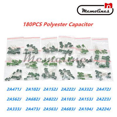 180pcs 18 Values Polyester Film Capacitor 63-630v Assortment Electrolytic Kit