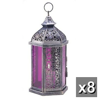 8 Purple Moroccan 11  Tall Candle Holder Lantern Light Wedding Table Centerpiece
