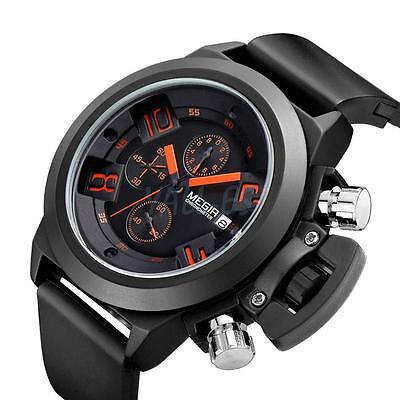 Megir Men's Sport Millitary Army Style Waterproof Leather Band Wrist Watch