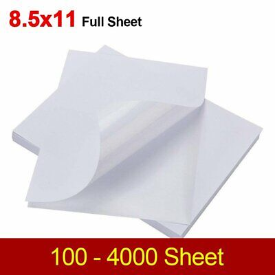 100-4000 Shipping Labels 8.5 X 11 Full Sheet Blank Sticker Label Self Adhesive