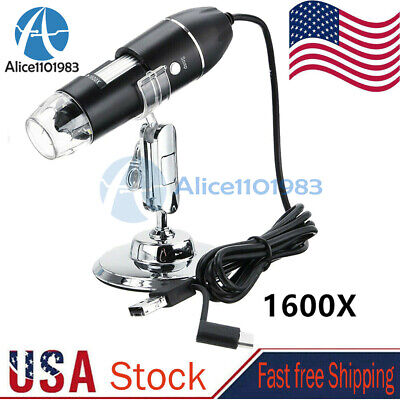 3 In 1 1600x 8led Digital Usb C Handheld Microscope Endoscope Magnifier Camera