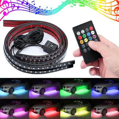 4pcs RGB 48LED Strip Under Car Tube Underglow Underbody System Neon Light Kit US