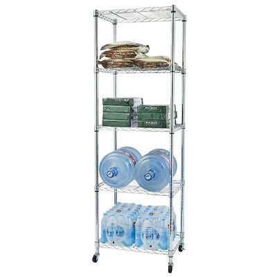 5-tier Wire Shelving Storage Rack Heavy Duty Shelf Chrome Plated Steel