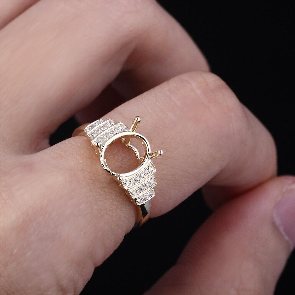 9x7mm Oval Cut Solid 14K Yellow Gold Diamonds Jewelry Semi-Mount ...