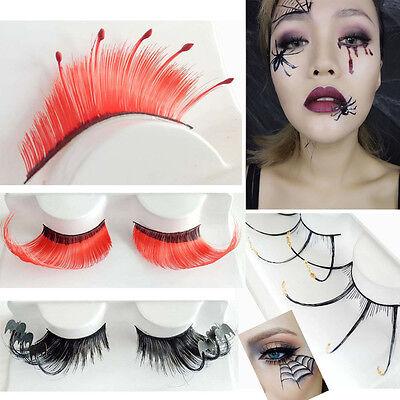 Women Halloween Bat Spider Wave False Eyelashes Party Makeup Art Terror sy - Halloween Spider Eyelashes