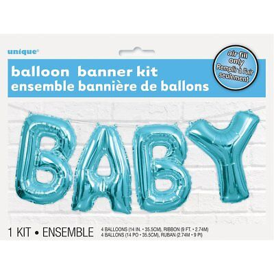 Blue Baby Letter Foil Balloon Banner Kit - Baby Shower Party Decoration Garland