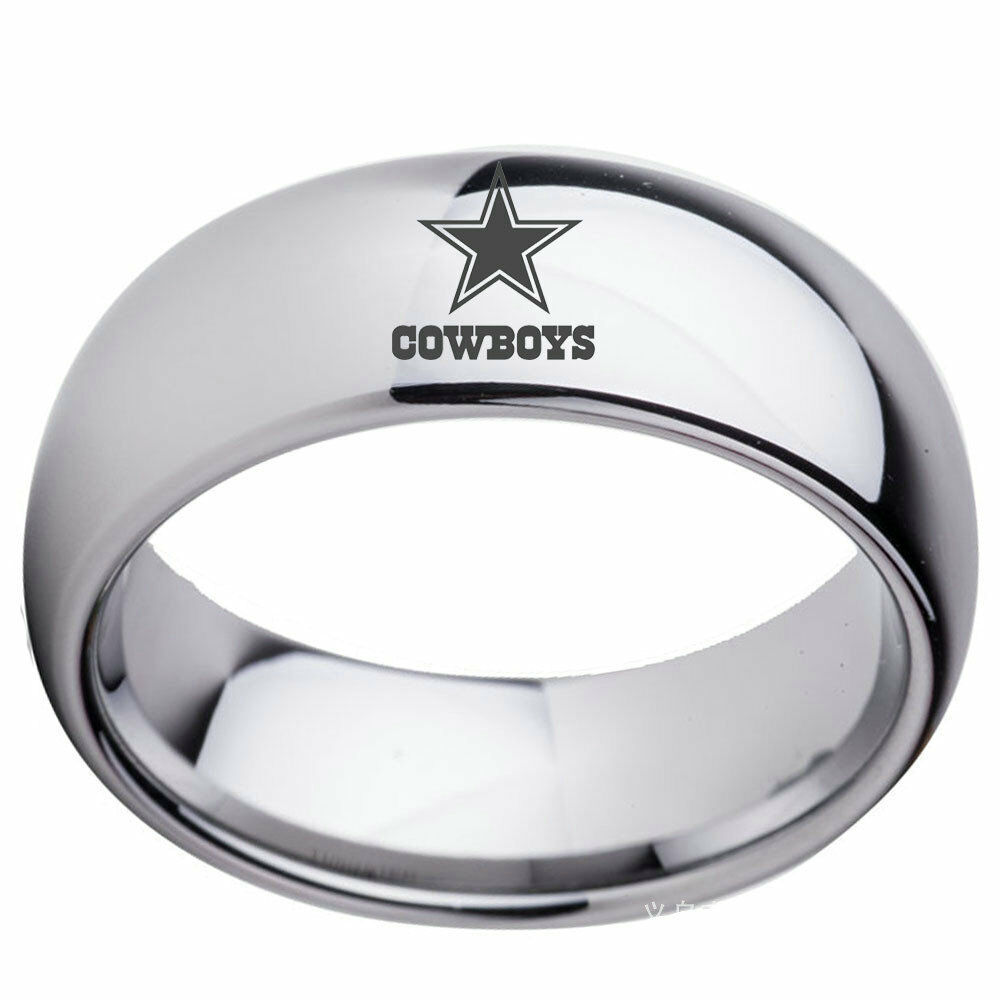 7ae09a7e8 Details about 8mm Silver Dallas Cowboys Team Stainless Steel Men's Band  Ring Gifts Size 6-13