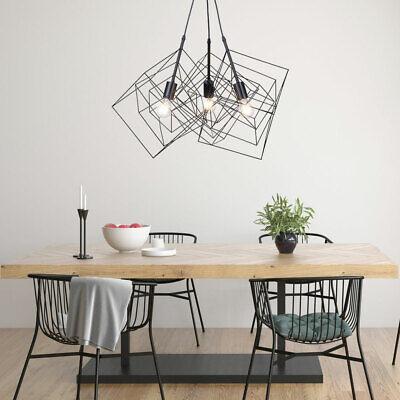 LED Techo Lámpara Colgante Vintage Filamento Diseño Jaula Cesta Péndulo Negro