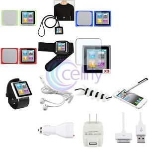 15-IN-1 ACCESSORY BUNDLE PACK FOR IPOD NANO 6TH GEN 6G 6G SILICONE CASE CHARGER