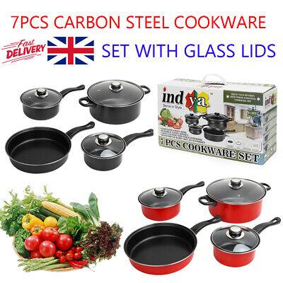 7pc Non Stick Carbon Steel Cookware Set Saucepans Glass Lid Frying Pan UK STOCK