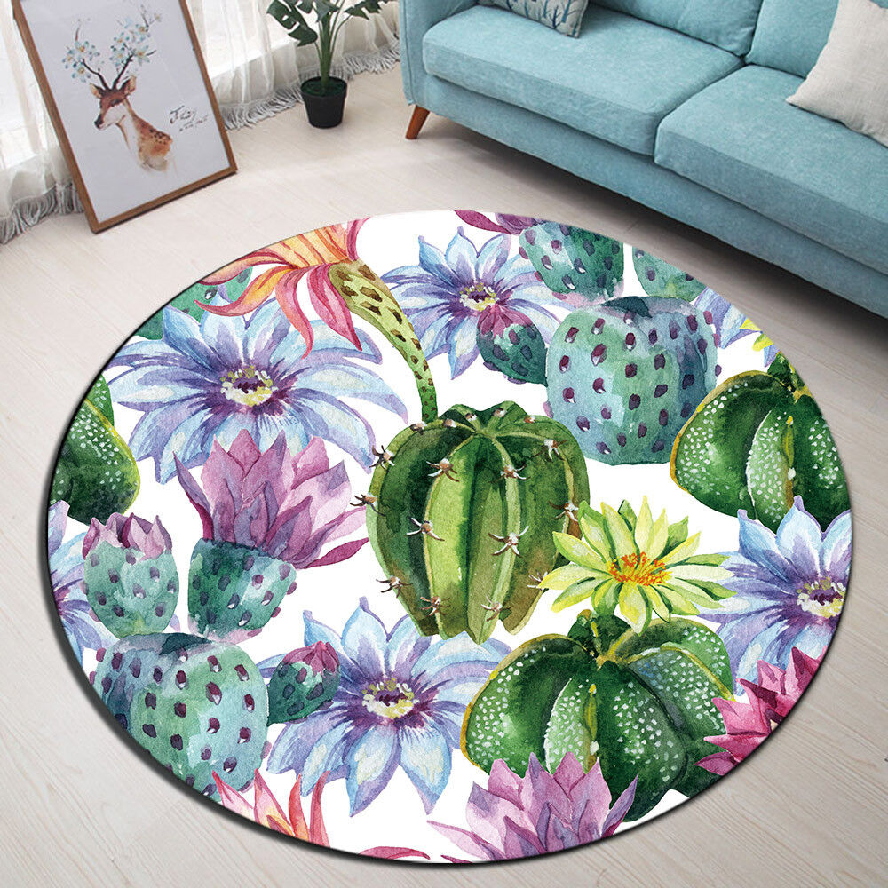 Watercolor Cactus Floral Round Floor Mat Area Rugs for Livin