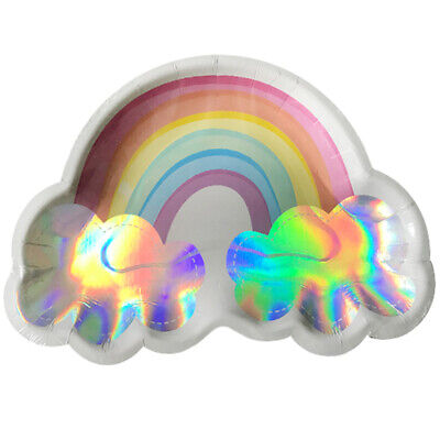 HAPPY BIRTHDAY Magical Rainbow LARGE PAPER PLATES (8) ~ Party Supplies Dinner (Rainbow Paper Plates)