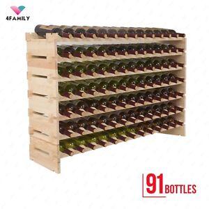 91 Bottles Holder Wood Wine Rack Stackable Storage 7 Tier Solid Display Shelves