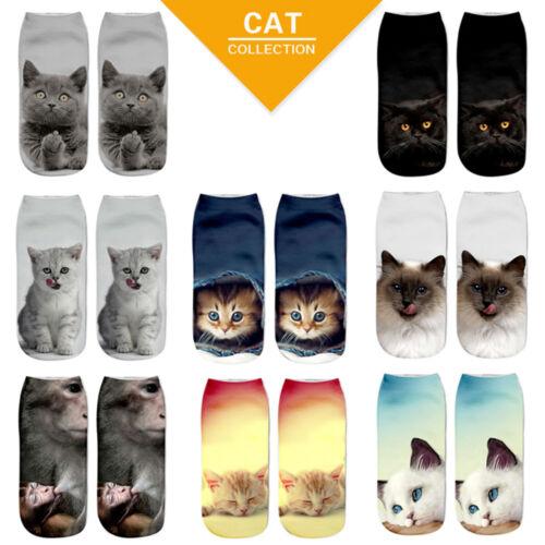 Beliebte Lustige Mädchen Casual 3D Nette Katze Gedruckt Fußkettchen Kurze Socken