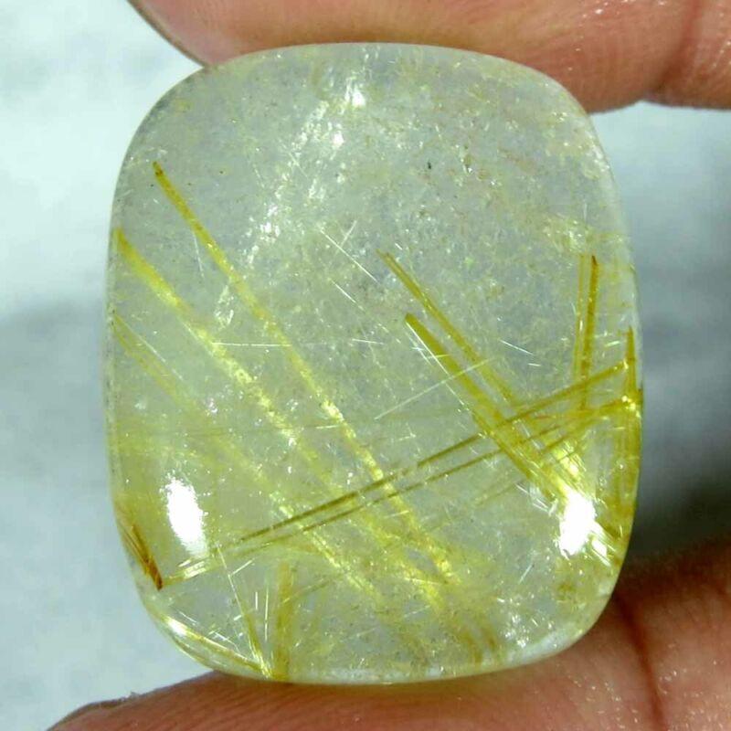 26.80Cts.100%Natural super golden Rutile Quartz cushion Cab Untreated Gemstone