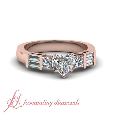 Heart Shape And Baguette Diamond Rings In 14K Rose Gold For Women 1.20 Ct GIA