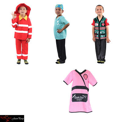 Kid's Dress Up Professions Firefighter Mechanic Nurse Barber Costume Outfit - Nurse Costume Kids