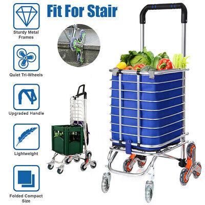 Folding Shopping Cart Grocery Trolley Laundry Stair Climbing Handcart Bag