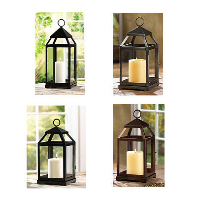 Contemporary Pillar Candle Lantern Black Metal Frame Clear Glass 12-25