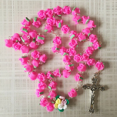 Mothers Day - Catholic ROSARY-PINK Rose Flower soft Ceramic bead with a Crucifix - Mothers Day Pink Rose