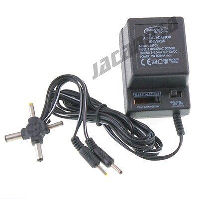 Universal AC/DC Power Adapter Output 3V 4.5V 6V 7.5V 9V 12V 500mA 2 Sony Plugs