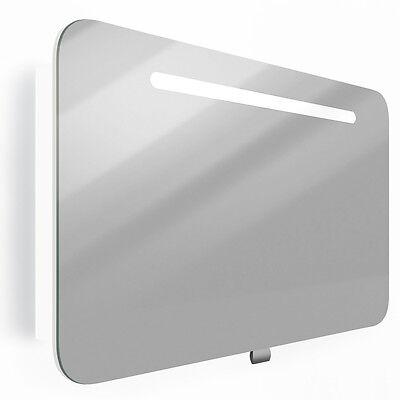 VICCO LED Spiegelschrank 90cm Weiß Hochglanz - Badspiegel Badezimmer Spiegel