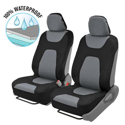 2pc Front Car Seat Covers 100% Waterproof Polyester/Neoprene Black/Gray 2Tone 2 Front Seat Covers