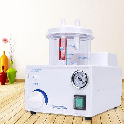 110v Portable Quiet Suction Unit Oil-free Piston Pump Medical Aspirator 1000ml