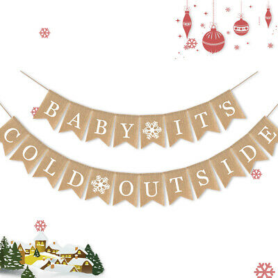 Burlap Baby Shower Banner (Jute Burlap Baby It's Cold Outside Banner Baby Shower Christmas Party)