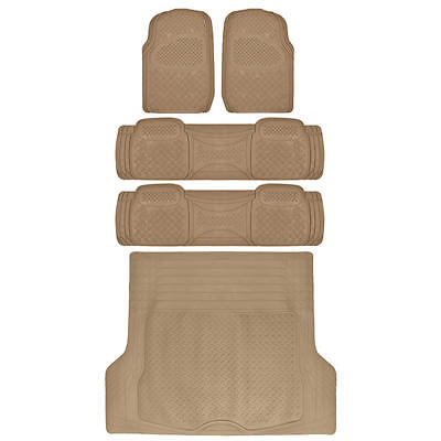 All Weather Rubber Mats for SUV Truck Van 5 Pieces BDK WeatherPlus Series Tan