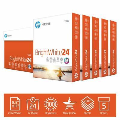 Hp Printer Paper Brightwhite 24lb 8.5x11 100 Bright 5 Ream Case 2500 Sheets