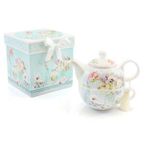 Tea Set For One Tea Pot & Cup Gift Box Blue Floral Potting Shed By Leonardo