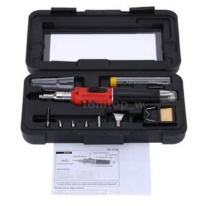 HS-1115K 10in1 Professional Butane Gas Soldering Iron Set 26ml Welding Kit Torch