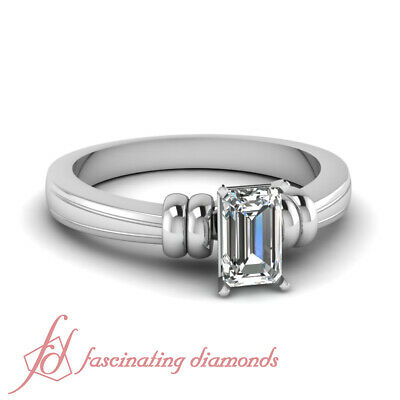 1/2 Carat Emerald Cut Solitaire Diamond Engagement Ring For Women GIA Certified