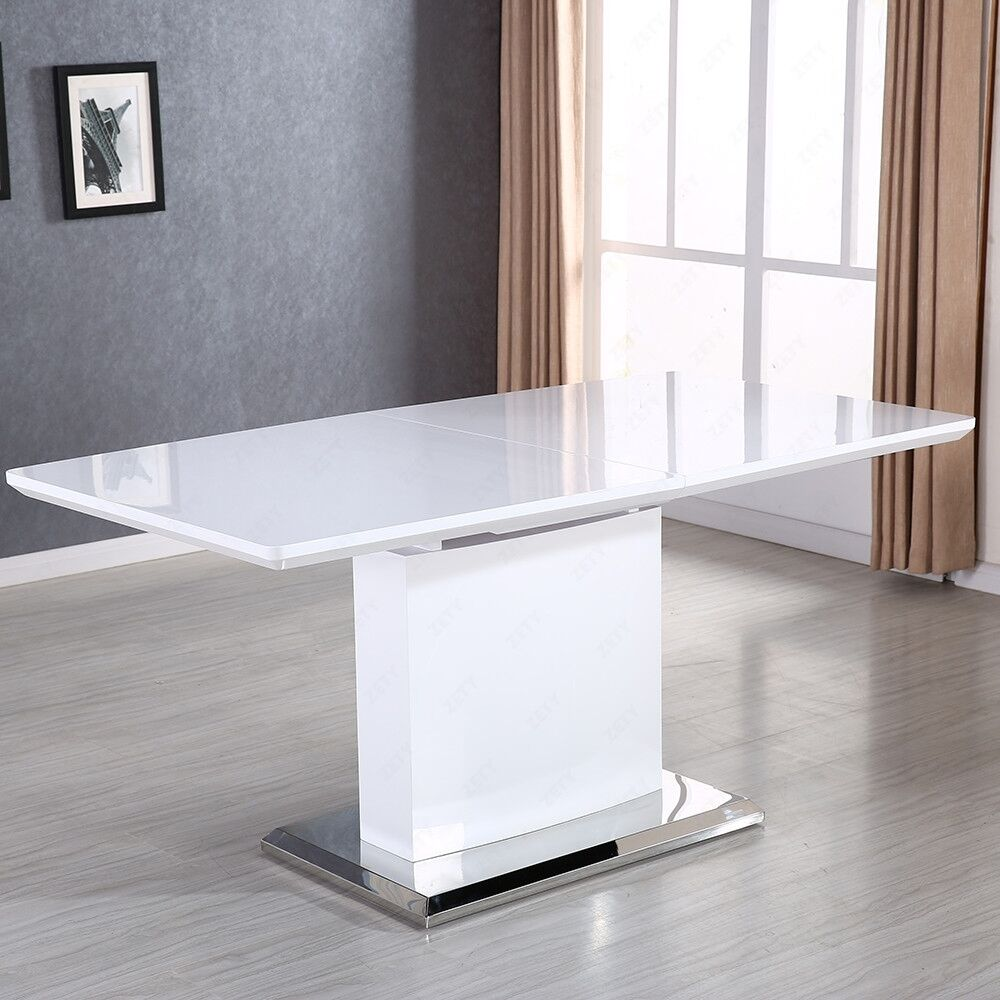 modern extendable dining table high gloss white mdf with stainless pedestal base ebay. Black Bedroom Furniture Sets. Home Design Ideas