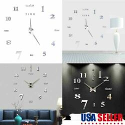 US Large Wall Clock Modern 3D Acrylic Mirror Sticker Big Number Watch DIY Decor