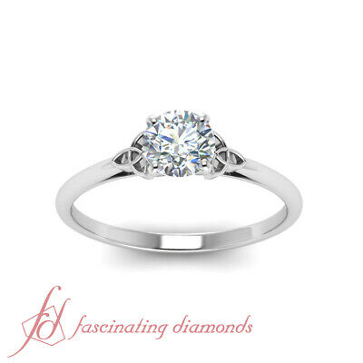 Solitaire 0.75 Carat Round Cut Diamond White Gold Celtic Style Engagement Ring 1