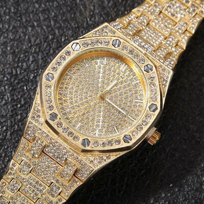 Iced Out Watch Hip Hop Classic Octagon Bezel Bustdown Band Bling Bling Wristwear