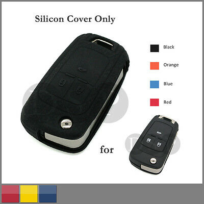 Leather Texture Silicone Cover fit for Chevrolet Flip Remote Key Case 3 B 4C BK